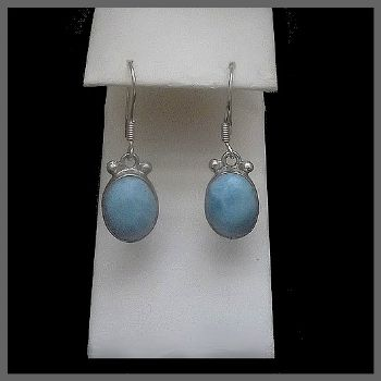 Oval Larimar Earrings with Orb Decoration